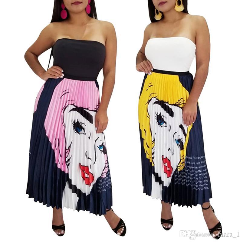 ead0d5fe8 Diseñador de la mujer Faldas plisadas Vestido de Midi Vestido de bola  atractivo Falda del verano ocasional más tamaño S-2XL Retratos de dibujos  ...