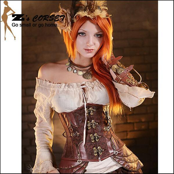 2016 New Sexy Steampunk Corset Steel Boned Waist Training Corsets Brown Steampunk Corset Top Gothic Rivet Corselet Underbust