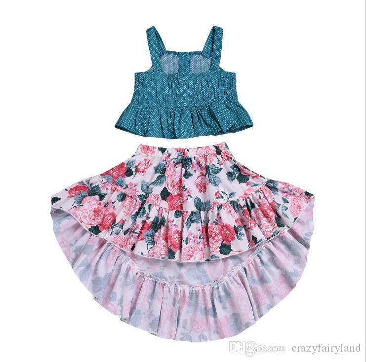 94edbd6411323 Kids Designer Clothes Girls Dress Summer Toddler Baby Girls Ruffle Strap  Top Boho Floral Dovetail Skirt Summer Outfit Clothes Two Piece Set
