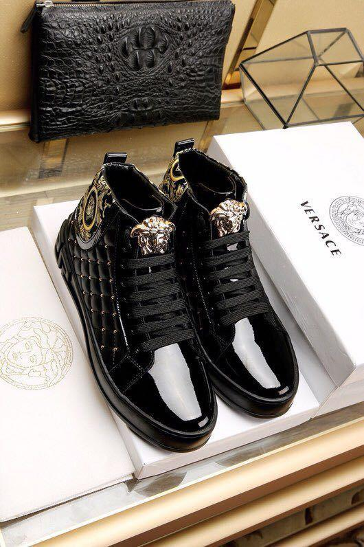 202204 Fashion New Classic Black High To Help Casual Men's Shoes Rivet Vamp Buckles Lace-ups Loafers Drivers Sneakers Shoes