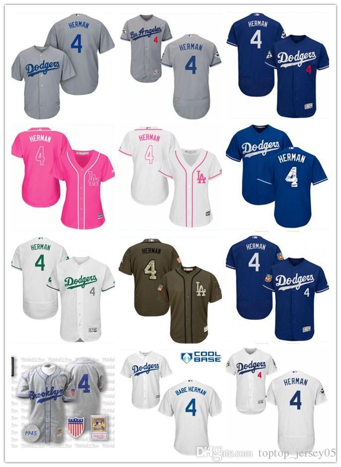 2019 2018 Top Los Angeles Dodgers Jerseys  4 Babe Herman Jerseys  Men WOMEN YOUTH Men S Baseball Jersey Majestic Stitched Professional  Sportswear From ... 17abd7aa180
