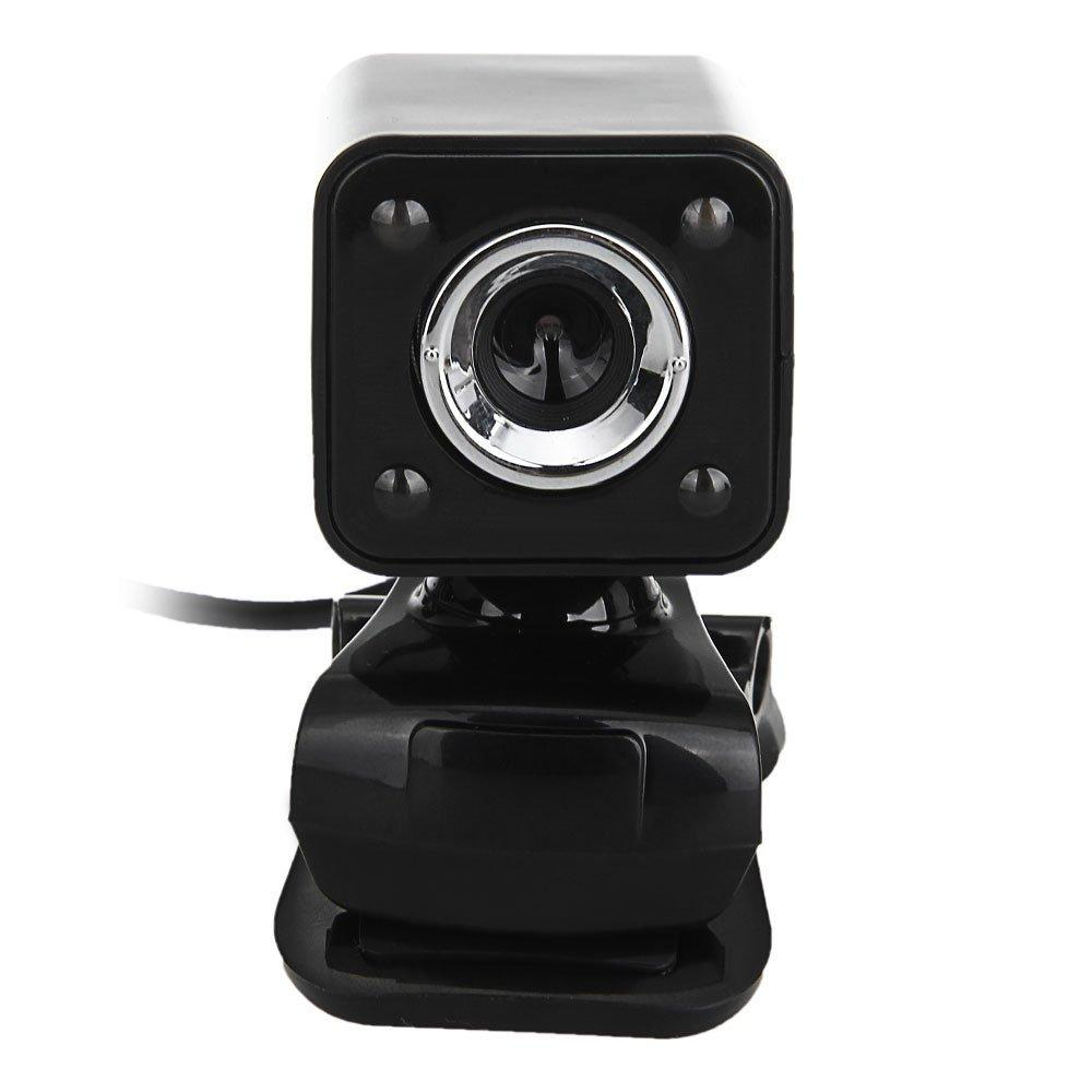 480P 30W 4 LED HD Webcam Camera + USB 2.0 Microphone for Computer PC Laptop Black