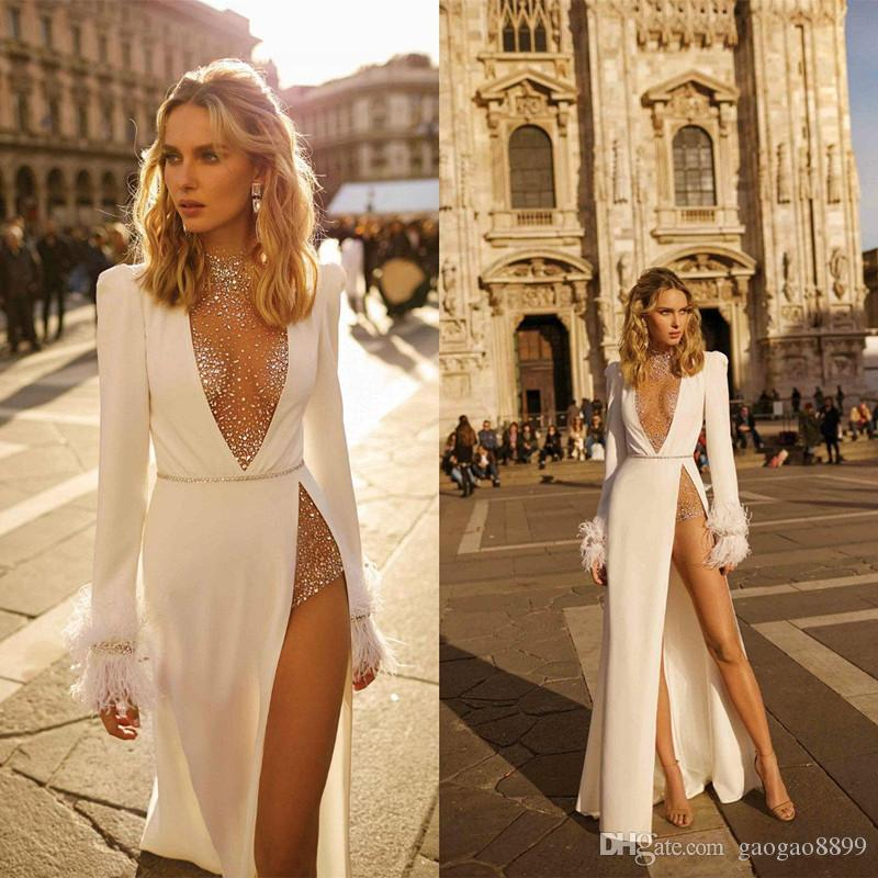 2019 Great Gatsby Vintage Luxury Beaded Wedding Dresses Wear yousef aljasmi Sheer Neck long Sleeve High Split Beach Feather Bridal gowns