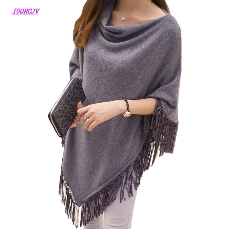 Bat Shirt Tassel Pullovers Plus Size Women Knitted Sweater 2018Spring Poncho Coat Solid Jumper Irregular Hem Cape Cloak Pull W97
