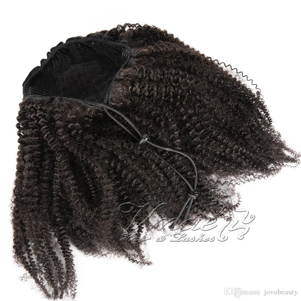 Preto Natural Brasileira 12 a 26 polegadas 4B Afro Cabelo Kinky Curly 120g Cavalinha cutícula Alinhados Virgin Remy Human cordão de-cavalo