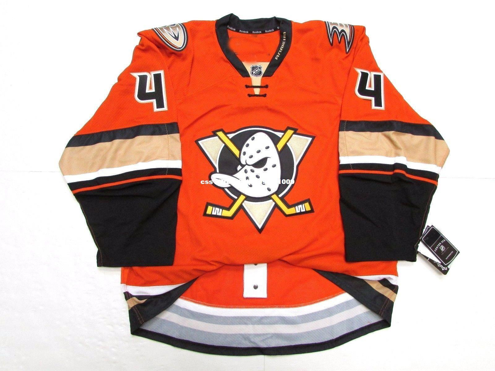 Cheap custom CAM FOWLER ANAHEIM DUCKS THIRD ORANGE EDGE 2.0 7287 JERSEY stitch add any number any name Mens Hockey Jersey XS-6XL