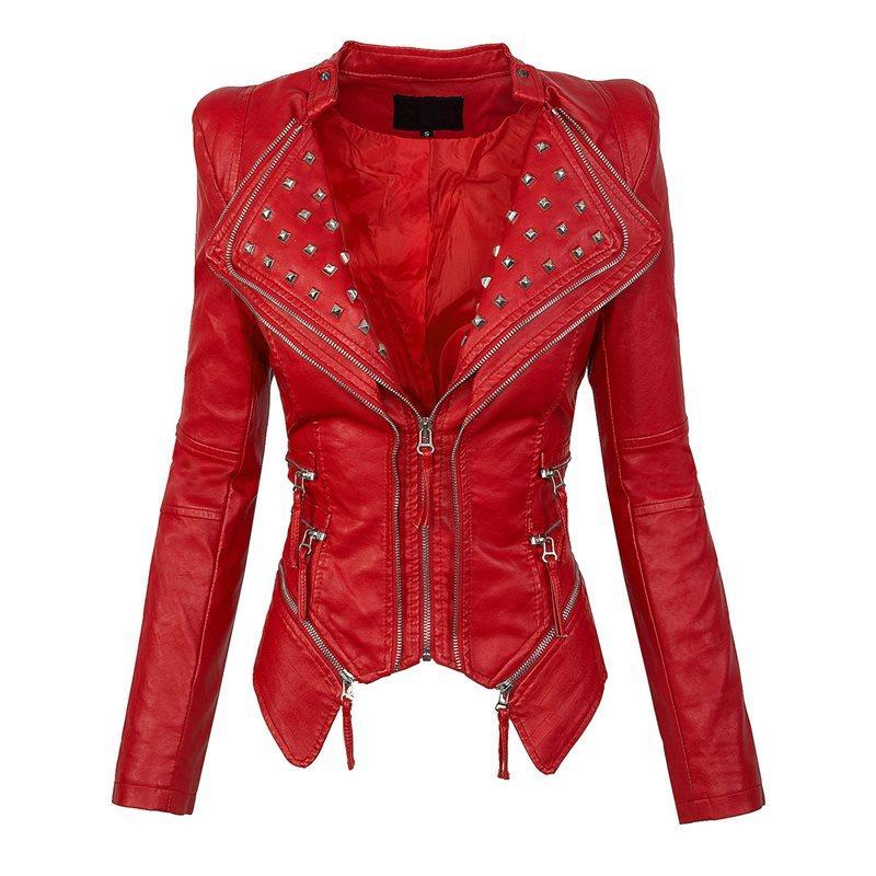 346e2f6f autumn women red jacket coat faux leather Plain Wide Lapel Rivet zipper PU  Jacket high street short top outwear sexy girl 2018