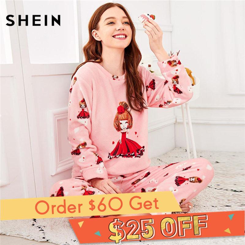 e995fa760f 2019 SHEIN Pink Cartoon Girl Print Plush Pajama Sets Women Long Sleeve  Sleepwear Autumn Winter Loungewear Set From Industrial, $29.55 | DHgate.Com