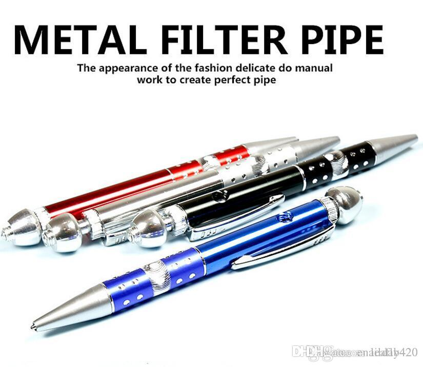 Fashion Personality Ballpen Metal Pipes Portable Creative Smoking Pipe Herb Tobacco Pipe Grinder Mouthpiece Accessories