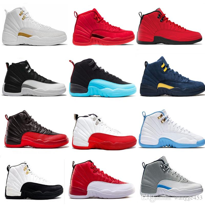 buy online 1b09b b2404 New 12 12s Basketball Shoes for Men Winterized WNTR Gym red white Flu game  University blue College navy Sports Sneakers trainers size 7-13