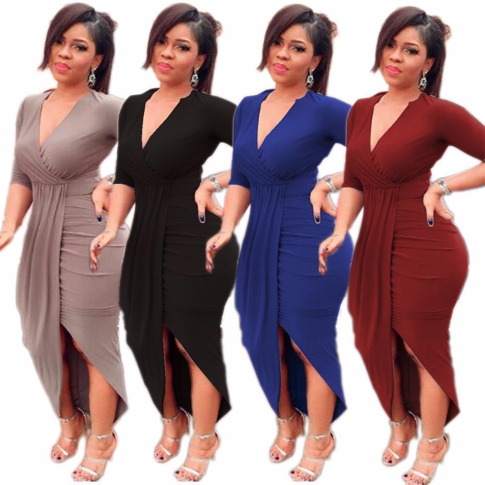 1a0c2250208 Compre Primavera Verano 2019 Moda Mujer Vestido Atractivo Con Cuello En V  Delgado Delgado Vestido Largo Vestido De Fiesta Elástico Alto Color Sólido  Ropa De ...