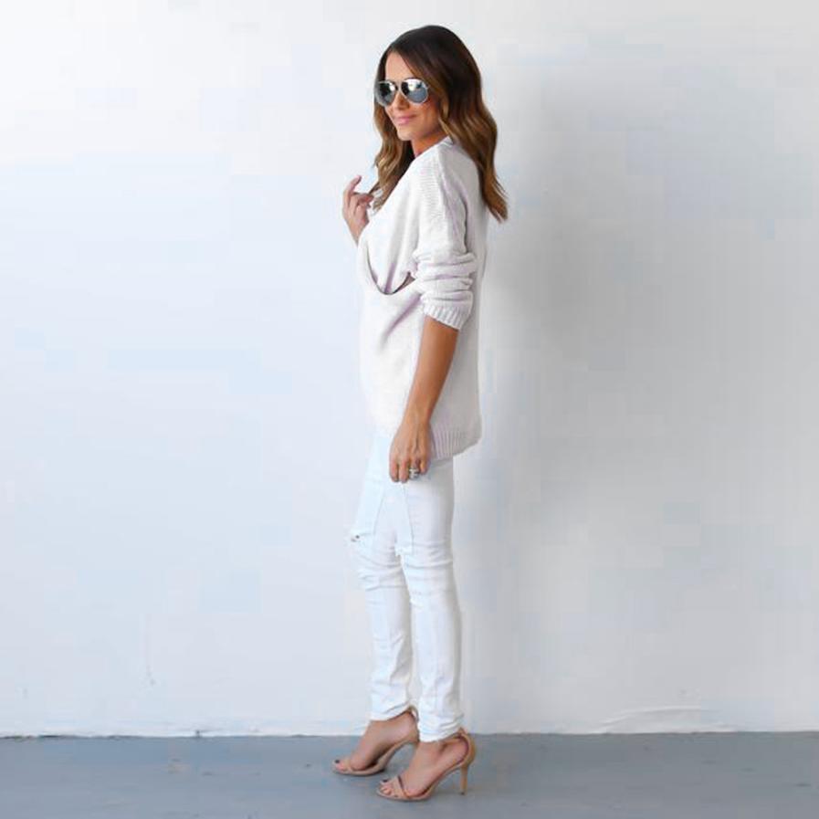 Womail Casual Pull Femme Hiver Regular Christmas Sweater white Sweater Female V-Neck Cross Nov4