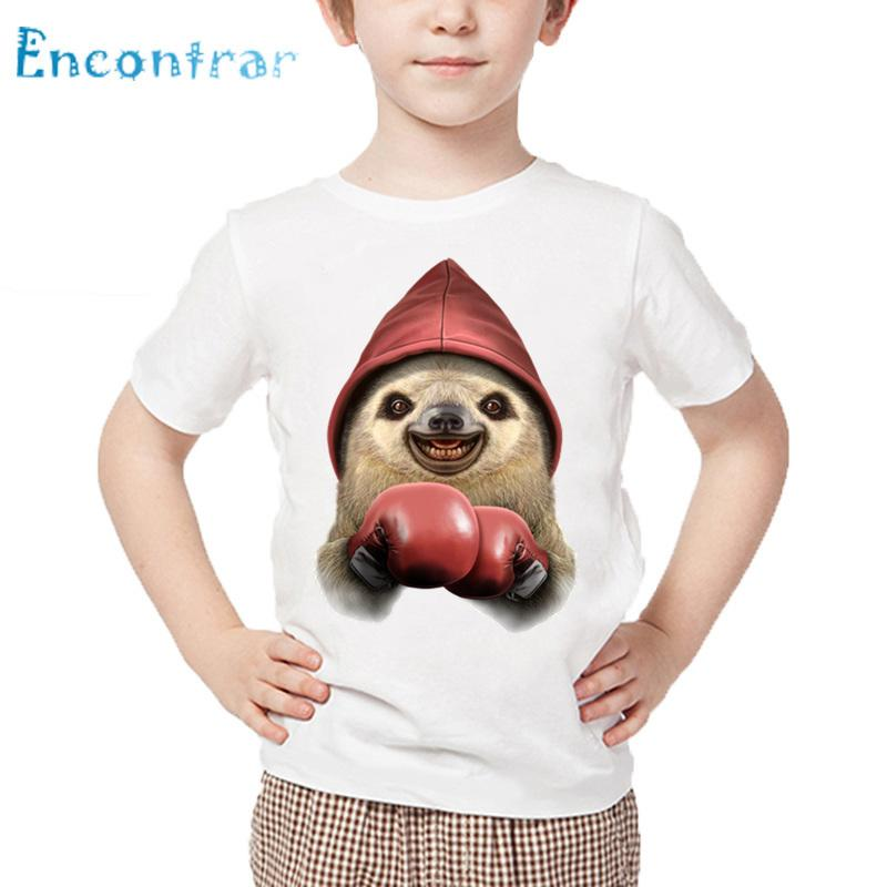 Kids Cute Sloth Drive Car And Boxing Print T shirt Baby Summer White Tops Boys and Girls Casual Funny T-shirt,HKP5552