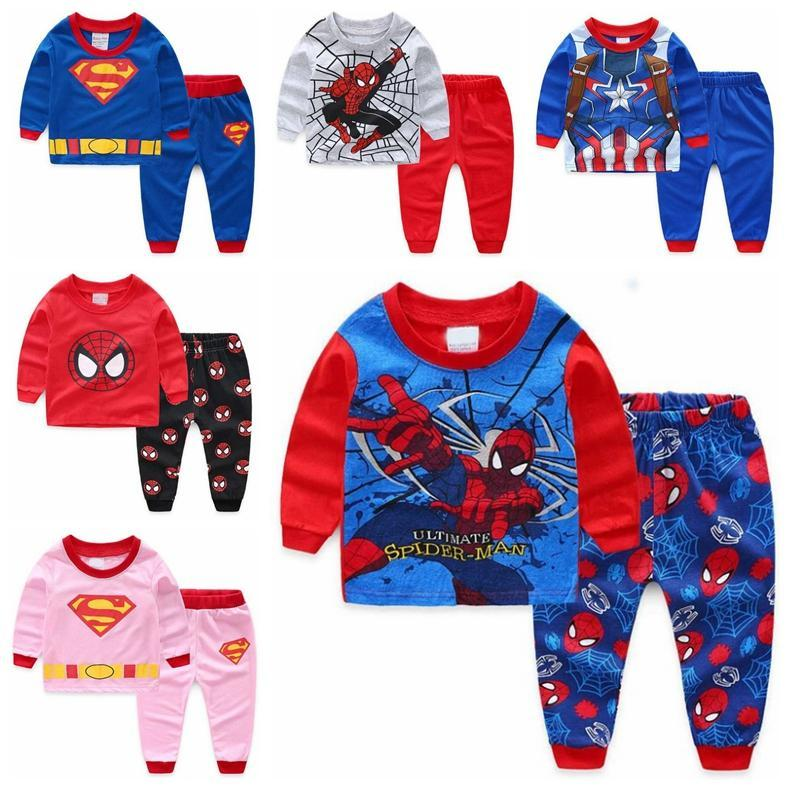 Long-sleeved Boys Sleepwear Children Pajamas kids Homewear Cartoon Pyjamas Kids Nightwear Baby Girl Clothes Toddler Cotton Set e