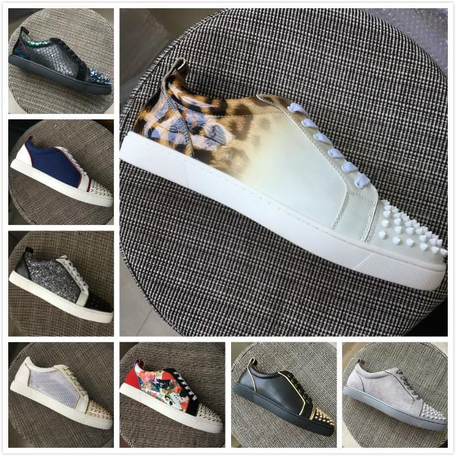f62e93994f7 New Men Women Red Bottom Shoes White Patent Leather With Leopard ...