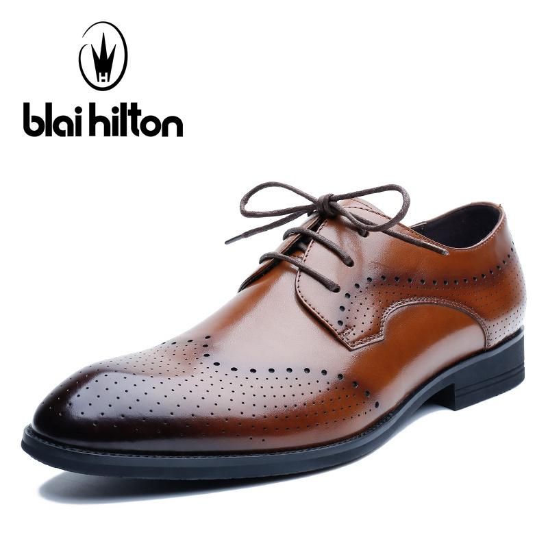2018 High Quality Leather Business Casual Shoes Men Dress Office Luxury Shoes Male Breathable Oxfords Men Formal Shoes Men's Shoes