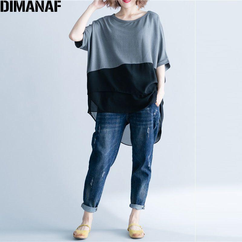 44e7cd96449ed1 Dimanaf Women T Shirt Summer Plus Size Chiffon Patchwork Elegant Oversized  Irregular Basic Tops Female Casual Loose Tees Shirt C19040301 Rude T Shirt  Shirt ...