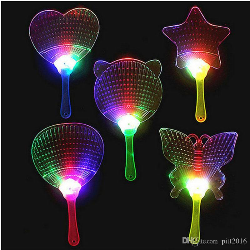 LED Coloré En Plastique Clignotant À La Main Fan Nuit Glowing Light Fan Light-up Enfants Jouets Parti Décoration Danse Performance