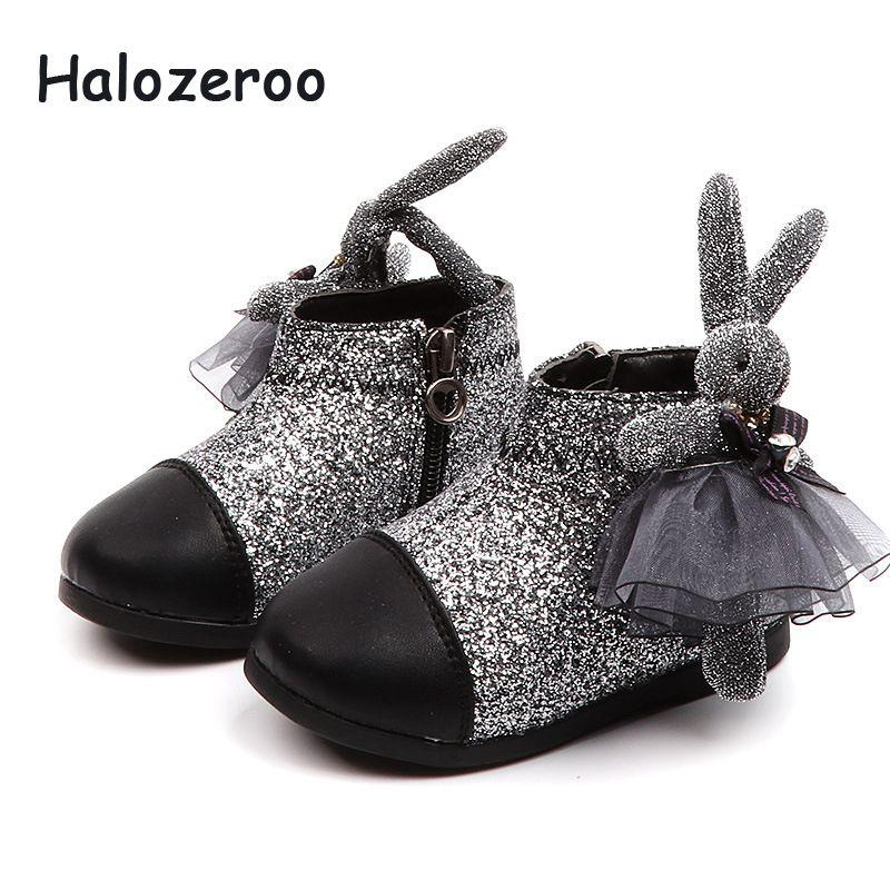 2d9282cf69f57e Acheter Nouveaux Enfants Paillettes Chaussures Chaudes Bébé Fille Lapin Bottines  Bottes Enfant En Bas Âge Strass Bottes Noires Mode Doux Marque Chaussures  ...