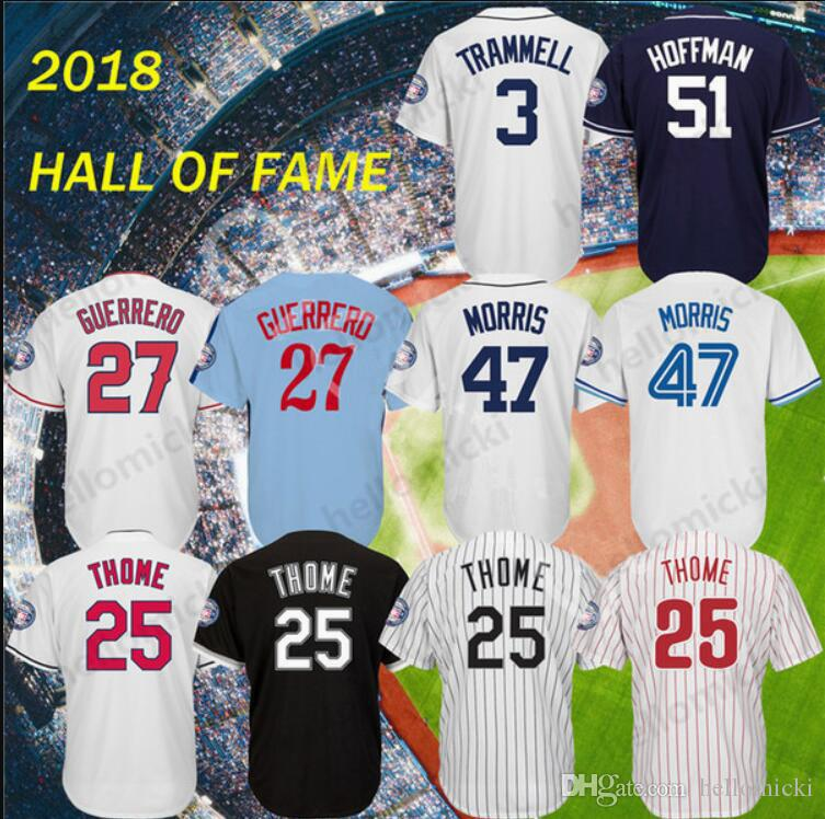 low priced 9887b a8a91 2018 Hall of Fame Chipper Jones Jersey Stitched Patch Vladimir Guerrero Jim  Thome Trevor Hoffman Baseball Jerseys