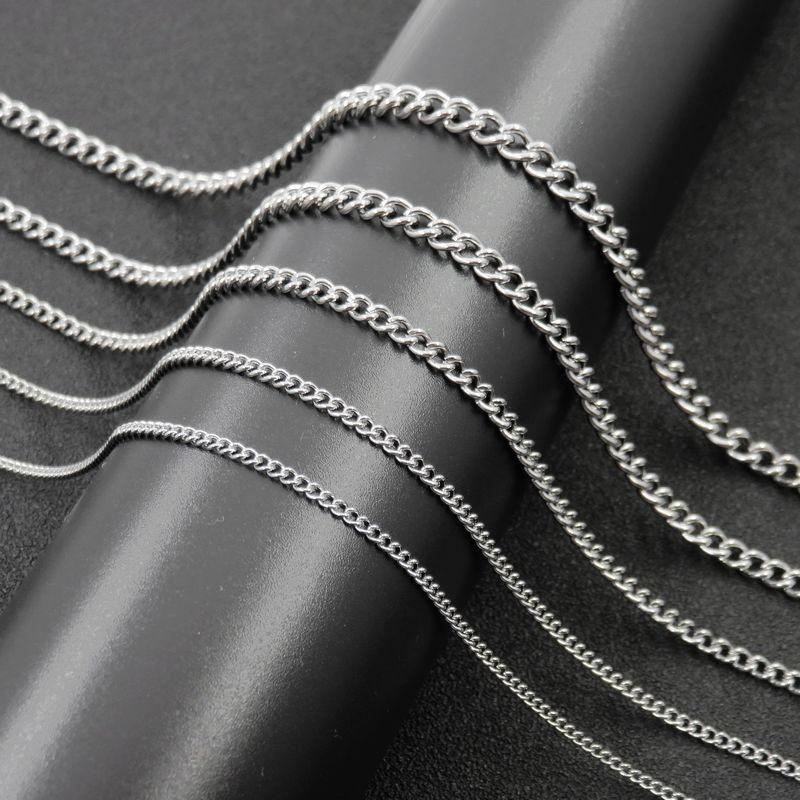 Women & Man Necklace Stainless Steel Silver O Twisted Link Chain Necklace Fahsion Jewelry 2/2.2/3/4/4.5mm*40cm-90cm