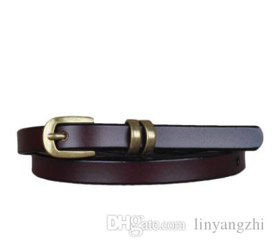 New simple leather belt narrow version wild decoration retro gold buckle small belt with skirt