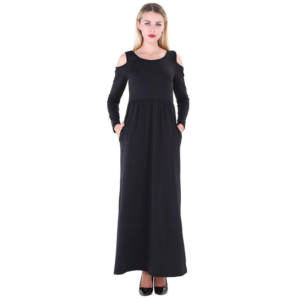 2019 New Fashion Women Maxi T Shirt Dress Solid Off Shoulder High