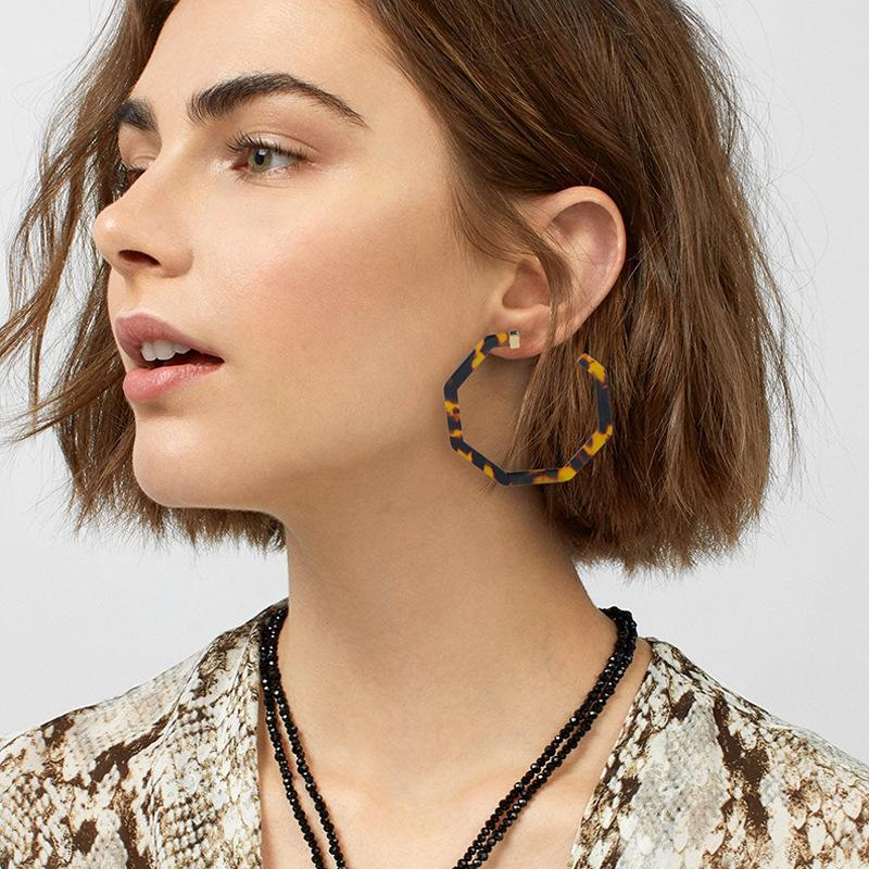 Leopard Earings Big Acrylic Hoop Earrings for Women Boho Earring ... 31871a9ec462