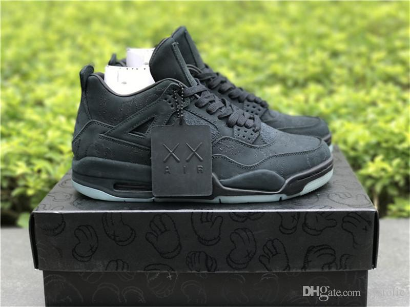 low priced 208c2 8b9d0 2018 New Authentic 4 XX Kaws Black 4S IV Basketball Shoes For Men Sports  Sneakers With Original Box 930155-001
