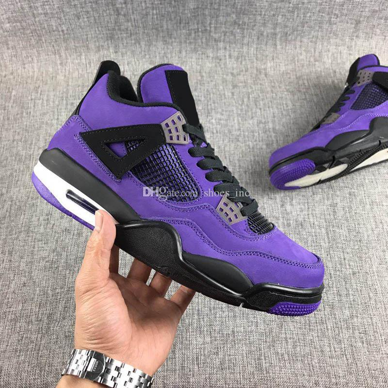 fbe86e5ef391 2019 Travis Scott X Jumpman 4 4S Cactus Jack Brand IV Purple Mens  Basketball Shoes White Laser All Black Sports Fashion Sneakers Authentic 7  13 From ...