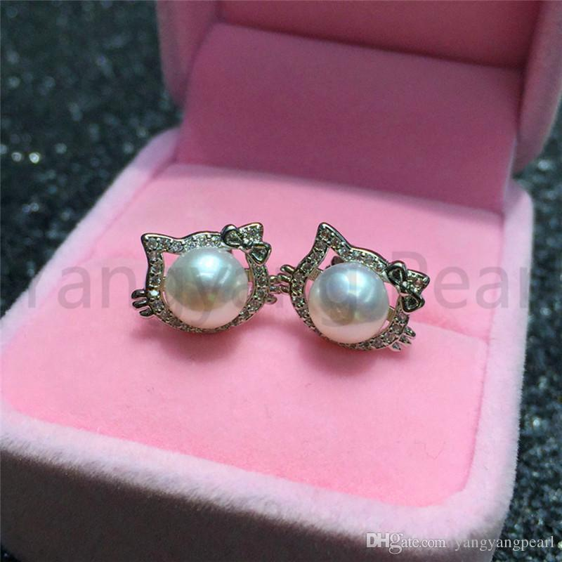 d82e47e5e 2019 925 Sterling Silver Material Pearl Stud Earrings White Round Steamed  Bread Pearl Hello Kitty Earring Jewelry Gift For Women From Yangyangpearl,  ...
