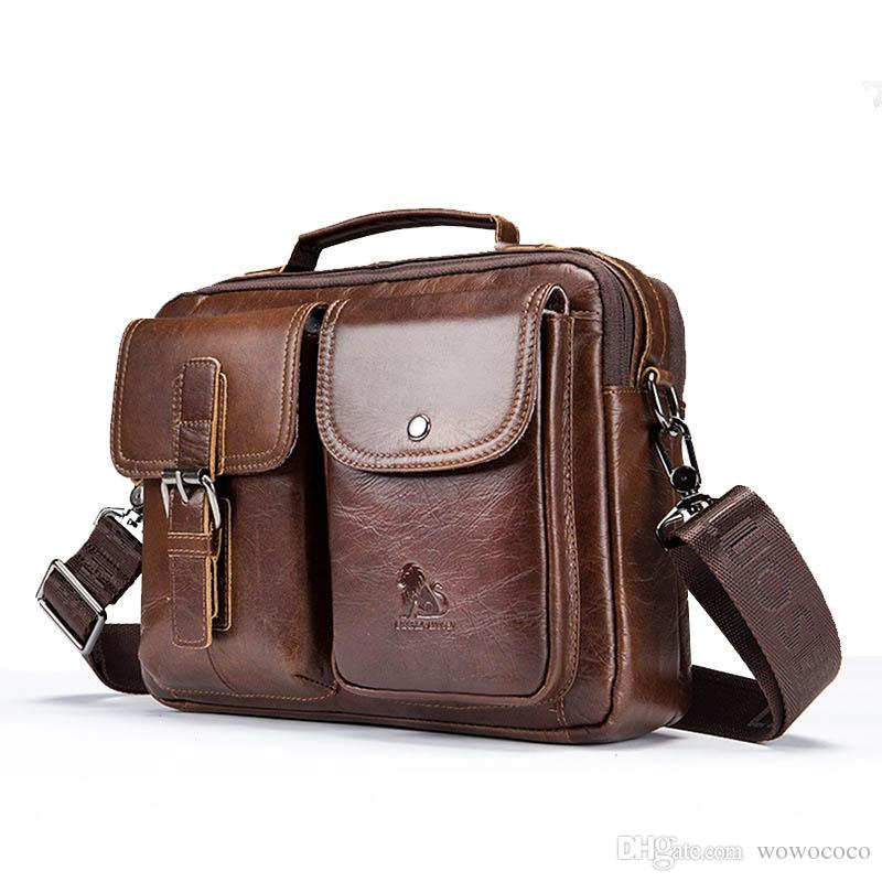 Men Classic Leather Handbag Casual Business Small Crossbody Bag Shoulder Bag 91203 X322