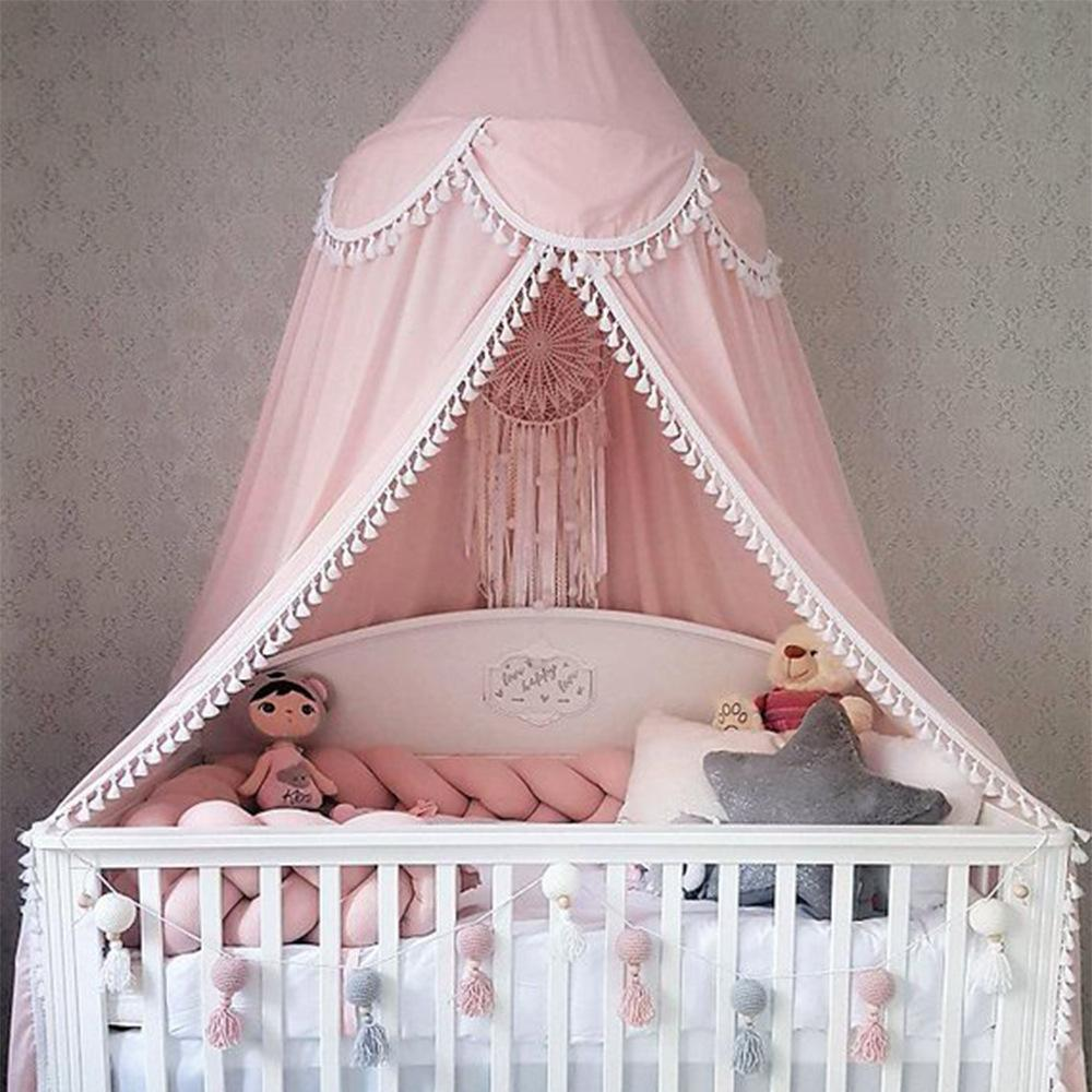 Tassel Mosquito Net Baby Bed Canopy Bedhemel PomPom Cotton Girls ...