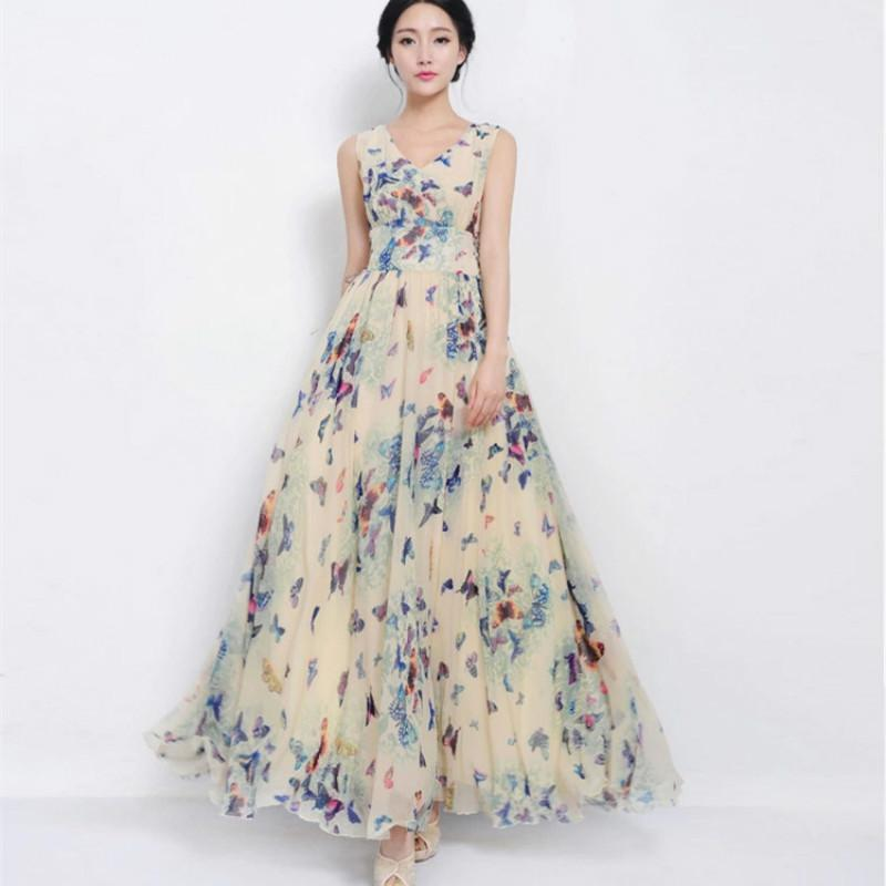 07df686168cf Floral Chiffon Long Dress 2019 Spring And Summer New Women S V Neck Slim  Beach Dress Big Swing Bohemian Plus Size Vestidos Party Dresses Summer Shop  ...