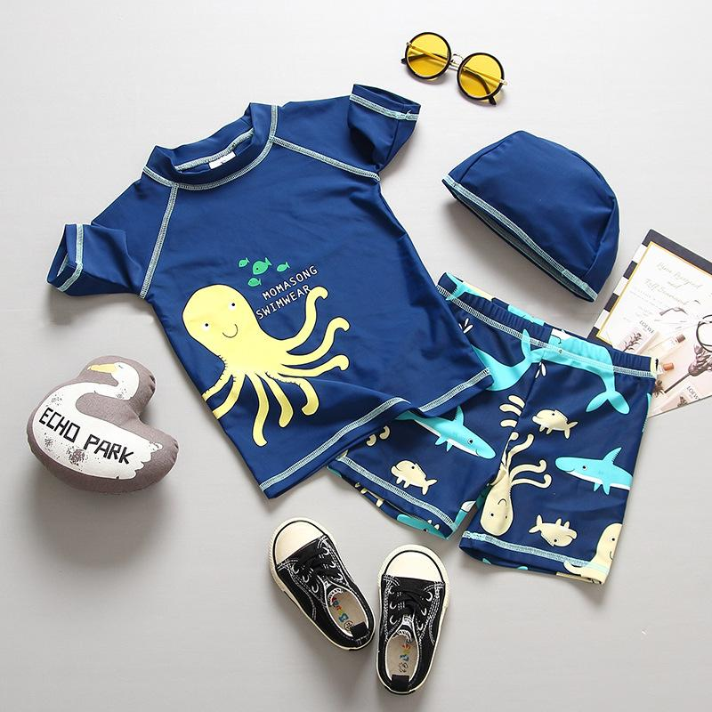 b7581cc4a6ac 2019 Boys Cartoon Swimsuits Summer Fashion Kids Octopus Shark Printed Swimwear  Children Short Sleeve Swimming Kids Beach Bathing Suit Y1363 From  Cherry_room ...