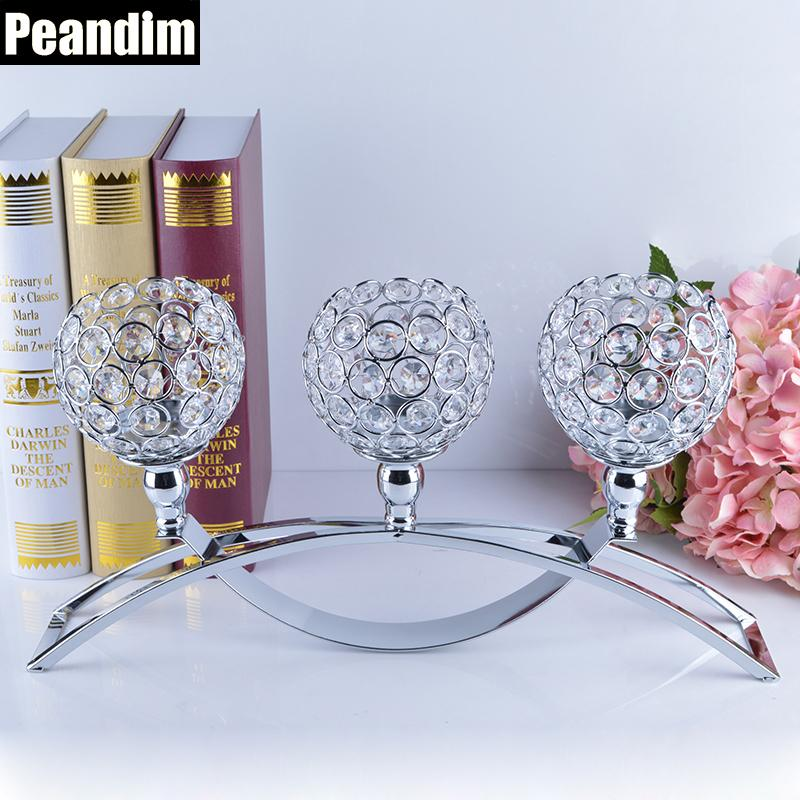 Peandim Religious Activities Decorations 3-candles Centerpieces Crystals Votive Candle Holders Y19061804