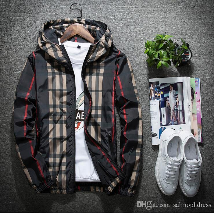 new mens jacket thin spring casual zipper hood coats men hoodie windbreaker Youth street style trend men and women both spring clothings