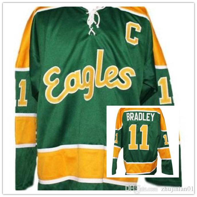 sports shoes 5ccb4 1d4a5 Salt Lake Golden Eagles Retro Hockey Jersey Green Bradley Any Size  Embroider stitching Customized Any Name And Number Jerseys