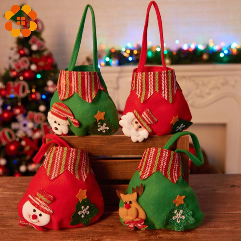 Christmas Candy Gifts.1pcs Colorful Cute Christmas Candy Gift Bags Decoration Diy Creative Christmas Children Adult Gifts Tote Bag Home Decor Supplies