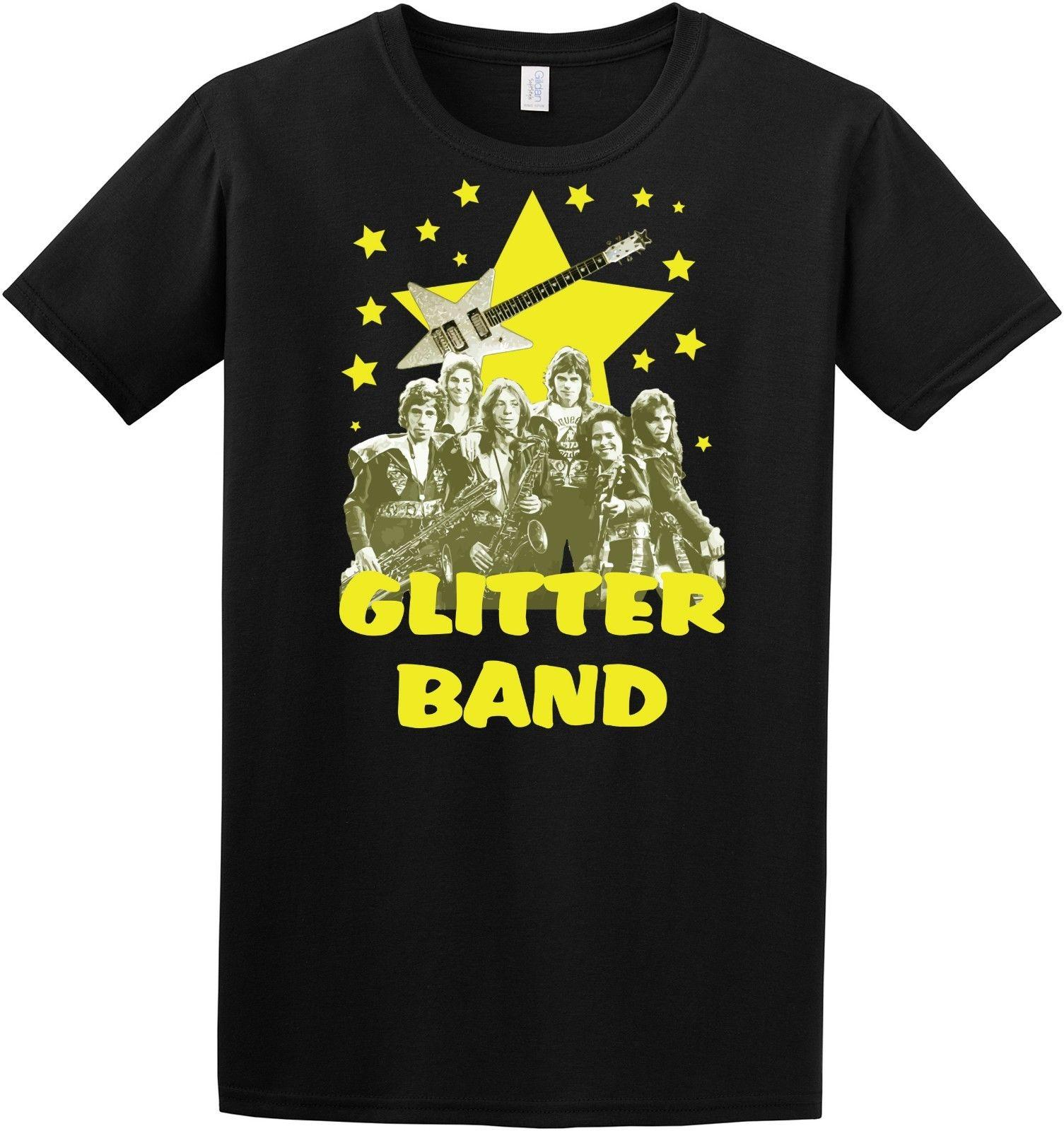 GLITTER BAND BLACK CREW NECK SHORT SLEEVE TSHIRT