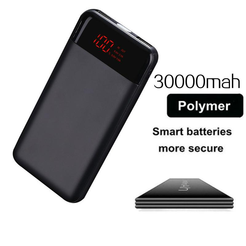 30000mah Power Bank Fast Charge Slim Ultrathin Powerbank Dual Usb Led Digital Display Portable Charger For Xiaomi Iphone Huawei Advertising