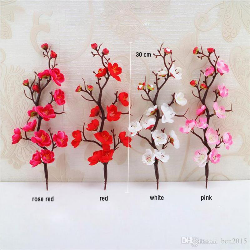 2019 Artificial Silk Flowers Plum Blossom Branch Silk Flower