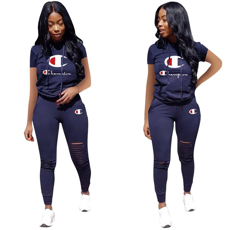8cb61bd876b116 Women Champions Letter Tracksuit Short Sleeve T-shirt Tops + Ripple Holes Pants  Leggings 2PCS Set Summer Hooded T Shirt Outfits Sports Suit
