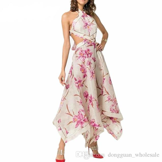 High quality luxury runway Women Sexy Off Shoulder Halter Party Dress Female Hollow Out High Waist Backless Print Maxi Dresses