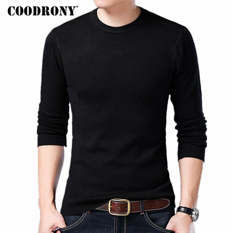 COODRONY Sweater Men Autumn Winter Warm Mens Knitted Wool Sweaters Solid Color Casual O-Neck Pull Homme Cotton Pullover Men 7209 V191109