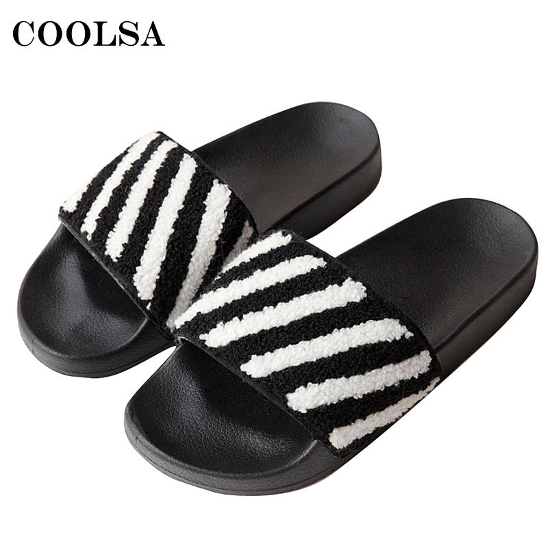 2a6849d6359fdc Fashion Brand Striped Women Slippers Woman Indoor Flip Flops Soft Flock  Plush Sandals Fuzzy Faux Fur Slides Slip On Mujer Shoes Boots Sale Western  Boots ...