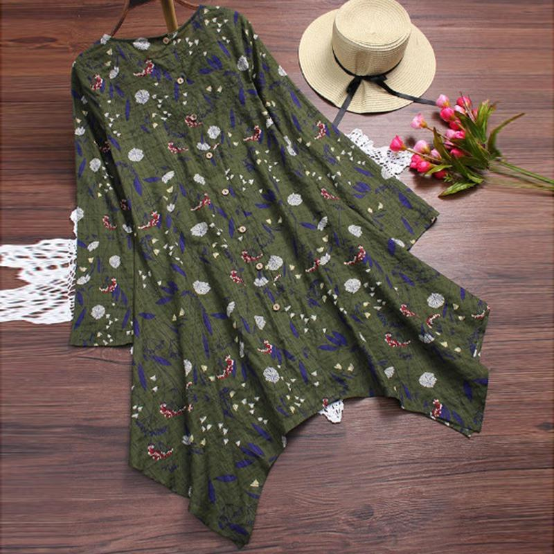 Women Loose Dress Cotton Linen Round Neck Long Sleeve Hem Irregular Floral Printed Dress Plus Size M-5XL