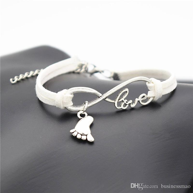 Silver Infinity Love Foot Feet Pendant Charm Bracelets & Bangles Delicate Wedding Simple White Leather Suede Rope Diy Jewelry Women Men Gift