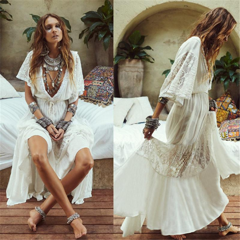 b5a80765a0 2019 NAIDEY Plus Size Beach Cover Up White Beach Wear Women 2019 New Long  Dress Tunic Summer Sexy Beachwear Pareo Deep V Neck From Gunot, $40.45    DHgate.