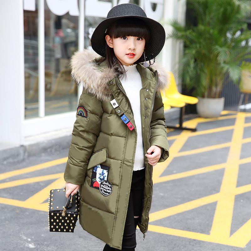 28aa53ebb OLEKID 2019 Children Down Jacket For Girls Brand Long Movable Fur ...